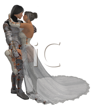 Royalty Free Clipart Image of a Woman and a Knight