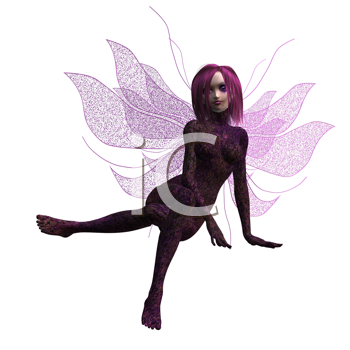 Royalty Free Clipart Image of a Purple Fairy