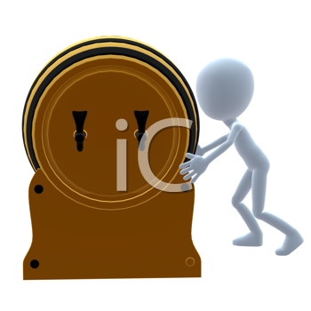 Royalty Free Clipart Image of a Beer Keg and a Guy