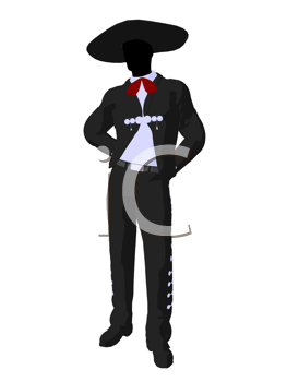 Royalty Free Clipart Image of a Man Wearing a Sombrero