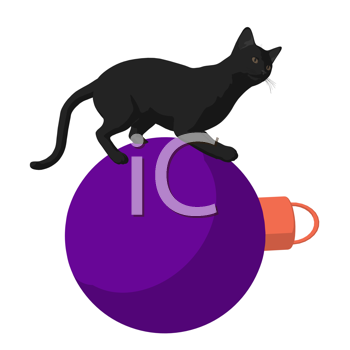 Royalty Free Clipart Image of a Black Cat and Ornament