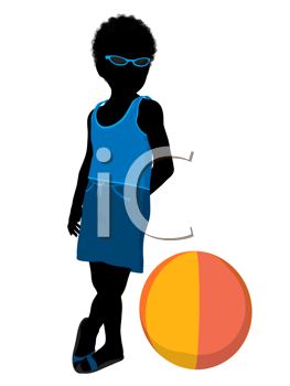 Royalty Free Clipart Image of a Boy With a Beach Ball