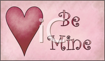 Royalty Free Clipart Image of a Be Mine Valentine Heart Message