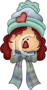Royalty Free Clipart Image of Raggedy Anne's Head