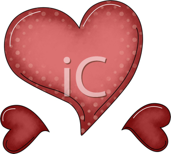 Royalty Free Clipart Image of a Polka Dot Heart and Two Small Hearts