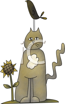 Royalty Free Clipart Image of a Cat Beside a Sunflower With a Bird Standing on Its Head