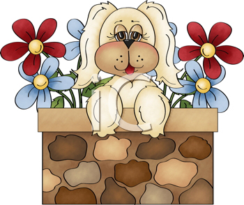 Royalty Free Clipart Image of a Puppy Against a Wall With Flowers