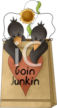 Royalty Free Clipart Image of Two Crows in a Bag