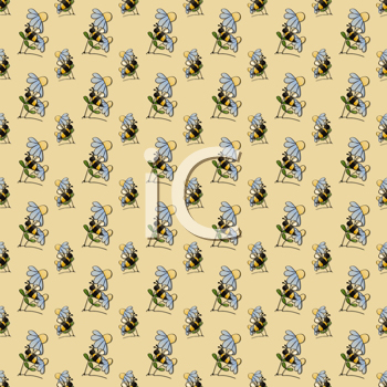 Royalty Free Clipart Image of a Bee on Flowers Background