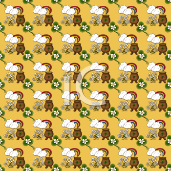 Royalty Free Clipart Image of an Irish Pot of Gold Background