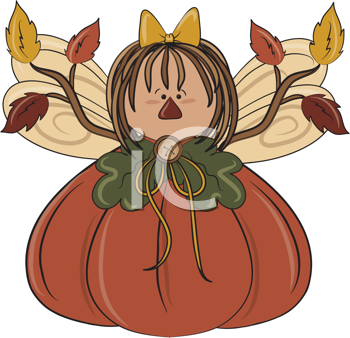 Royalty Free Clipart Image of an Autumn Angel