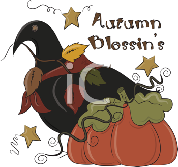 Royalty Free Clipart Image of an Autumn Message With a Crow and Pumpkin
