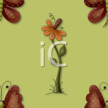 Royalty Free Clipart Image of a Flower and Butterfly Wallpaper