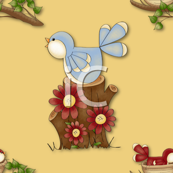 Royalty Free Clipart Image of a Bird on a Stump Background