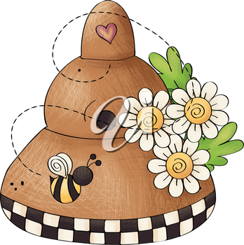 Royalty Free Clipart Image of a Bee and Beehive