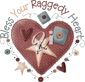 Royalty Free Clipart Image of a Heart and Saying Bless Your Raggedy Heart
