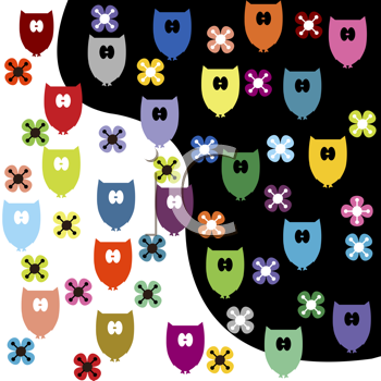 Royalty Free Clipart Image of Coloured Owl Background