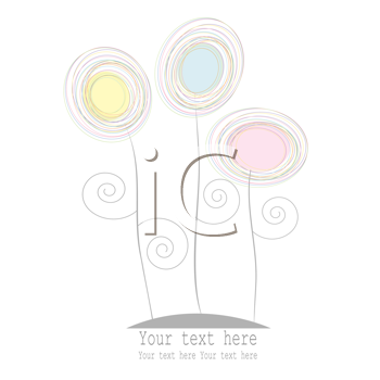 Royalty Free Clipart Image of a Greeting Card With Three Pastel Flowers