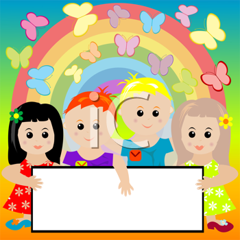 Royalty Free Clipart Image of Kids With a Banner on a Background of Butterflies and a Rainbow