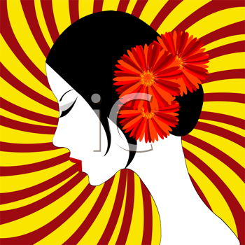 Royalty Free Clipart Image of a Woman With Hair Flowers