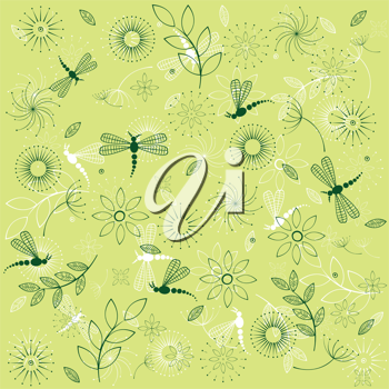 Background with dragonflies and flowers
