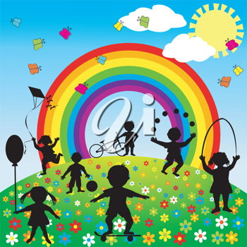 Cute background with children silhouettes playing