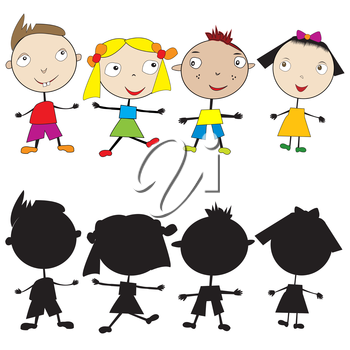 Set of doodle children and their silhouettes