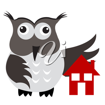 Royalty Free Clipart Image of an Owl With a House Under Its Wing