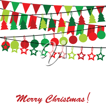 Merry Christmas card with bunting and garlands