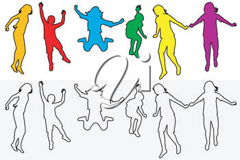 Set of children silhouettes jumping with outline