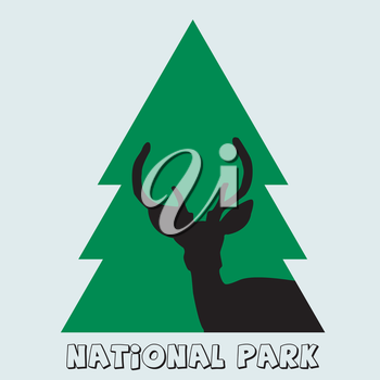 National park icon with deer stag and green fir
