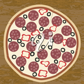Salami pizza on wooden table background