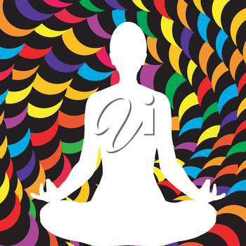 A male lotus position silhouette on abstract spiral background