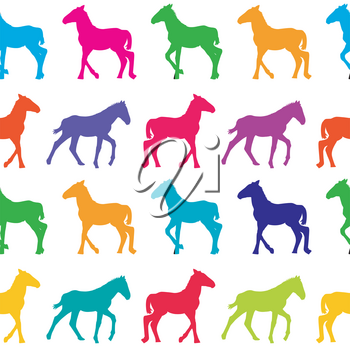 Colorful seamless background with foals silhouettes