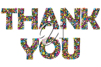 THANK YOU banner with floral letters
