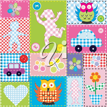 Patchwork for kids with childish sewed elements
