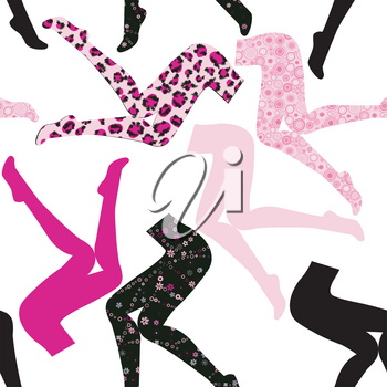 Seamless pattern with women's legs in colored pantyhose