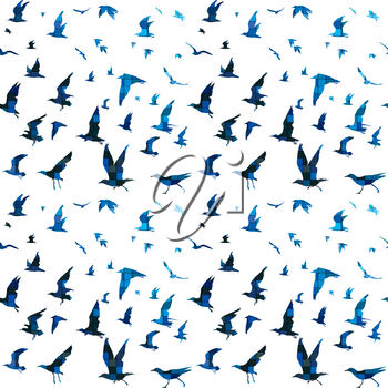 Birds with blue mosaic tile pattern
