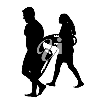 Silhouettes of male and female lifeguards holding rescue cans