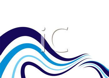 Royalty Free Clipart Image of Ocean Blue Waves on White