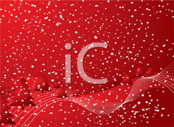 Royalty Free Clipart Image of a Red Christmas Background With Snow