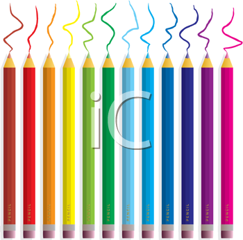 Royalty Free Clipart Image of a Pencil Crayons