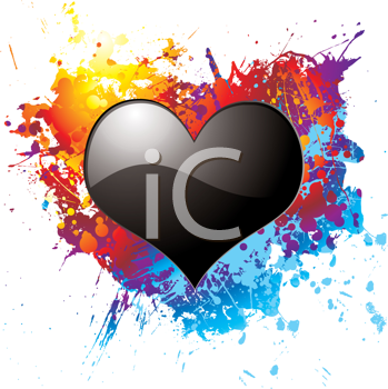 Royalty Free Clipart Image of a Black Heart on a Rainbow