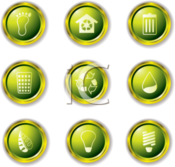 Royalty Free Clipart Image of Environmental Buttons