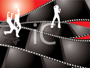 Royalty Free Clipart Image of Girls on Filmstrips