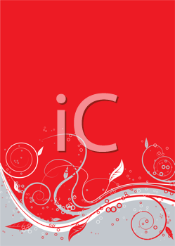 Royalty Free Clipart Image of a Red and Grey Background Divided by a Leafy Flourish