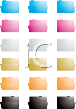 Royalty Free Clipart Image of Coloured Folders