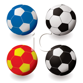 Royalty Free Clipart Image of Coloured Soccer Balls