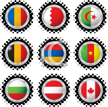 Royalty Free Clipart Image of a Set of Nine Flag Buttons