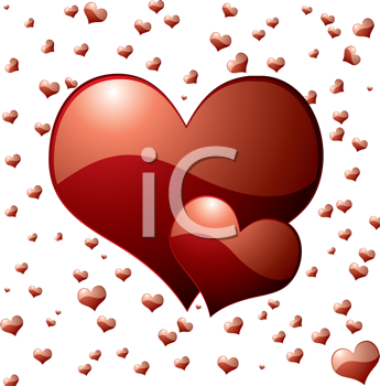 Royalty Free Clipart Image of Hearts on a Heart Background
